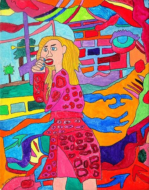 Blonde Woman in Flower Dress