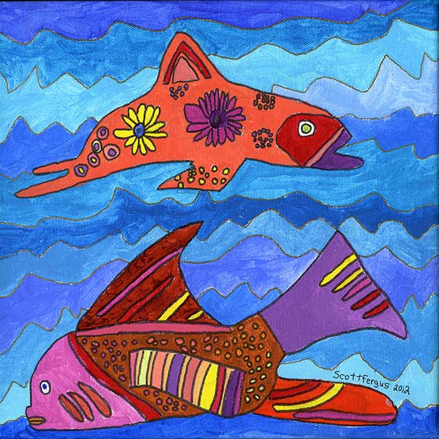 Fancy Fish on Blue