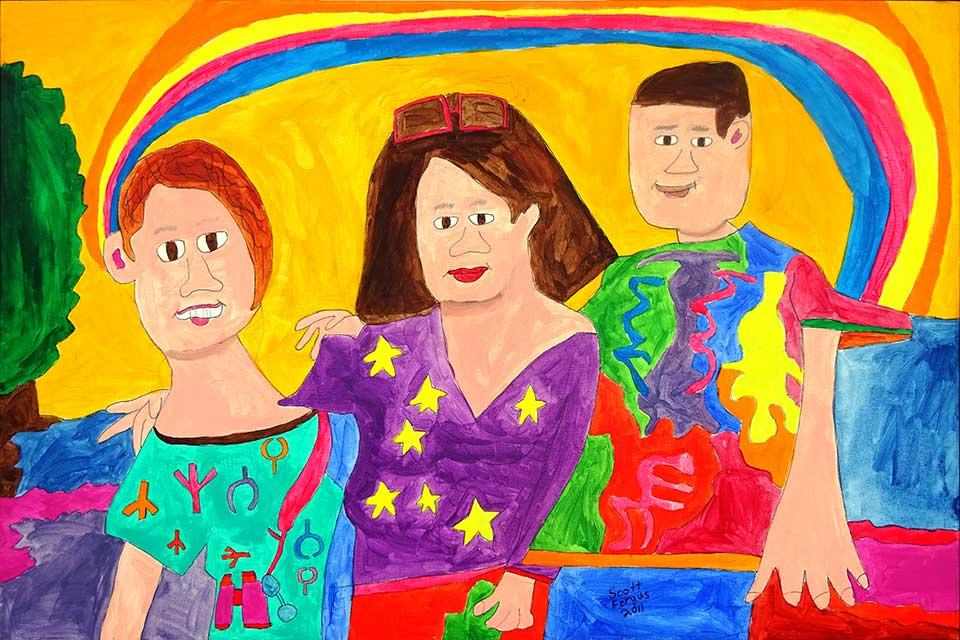 Scott and Family Under Rainbow